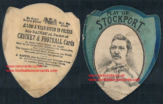 1890 Baines Litho Bradford Stockport FC Faulkner Forward football rugby card